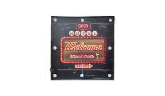 CARTELLO IN LEGNO - CON LAMPADINE A LED - 'WELCOME'